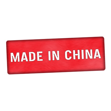 Made in China white wording on wood red background Stock Photo
