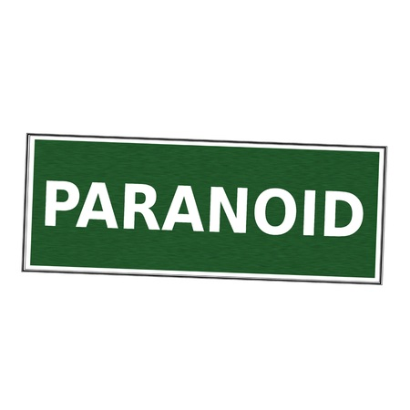 paranoid: PARANOID white wording on picture frame Green background Stock Photo