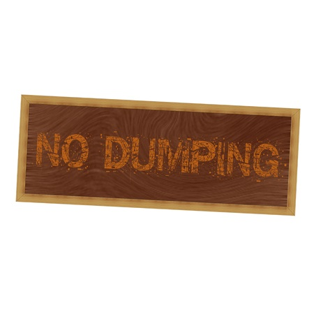dumping: no dumping orange wording on picture frame wood brown background