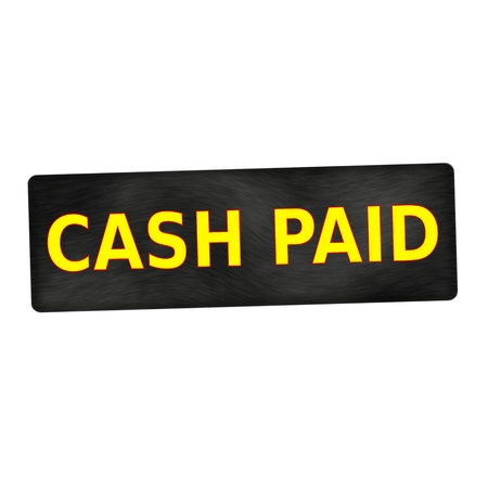 paid: CASH PAID  yellow wording on black wood background Stock Photo