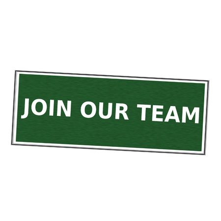 join our team: Join our team white wording on picture frame Green background