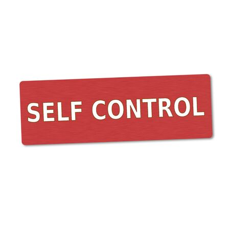 self control: self control white wording on red wood background