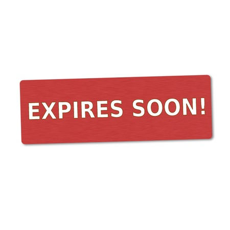expires: expires soon white wording on red wood background Stock Photo