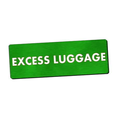 excess: excess luggage white wording on green wood background