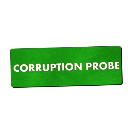 probe: corruption probe white wording on green wood background