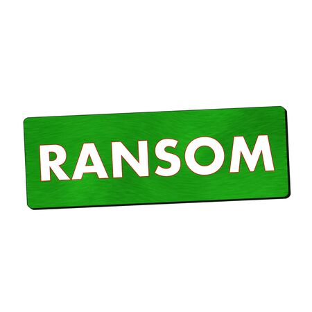 ransom: ransom white wording on green wood background