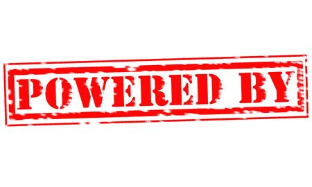 powered: POWERED BY Red Stamp Text on white background Stock Photo