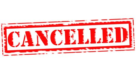 cancelled: CANCELLED Red Stamp Text on white background