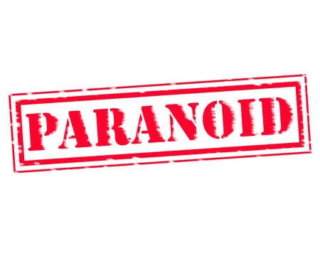 paranoid: PARANOID RED Stamp Text on white background