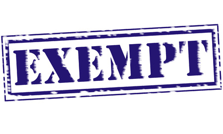 exempt: EXEMPT blue Stamp Text on white background