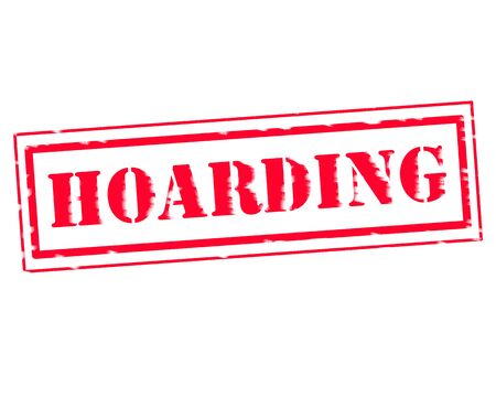 hoarding: HOARDING RED Stamp Text on white background Stock Photo