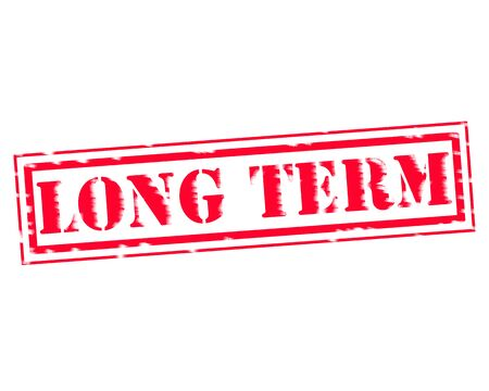 long term: LONG TERM RED Stamp Text on white background