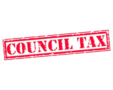 council: COUNCIL TAX RED Stamp Text on white backgroud