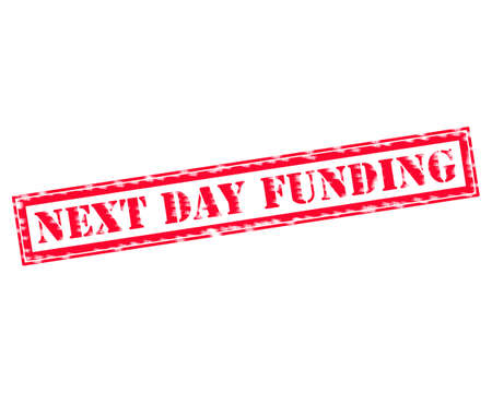 next day: NEXT DAY FUNDING RED Stamp Text on white background Stock Photo