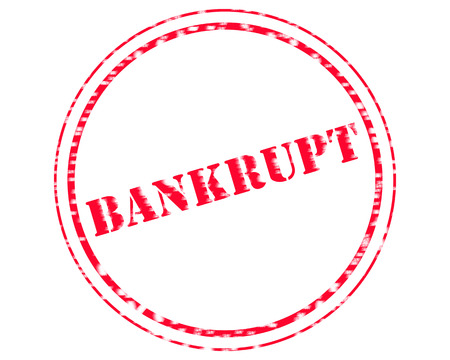 BANKRUPT RED Stamp Text on Circle white background