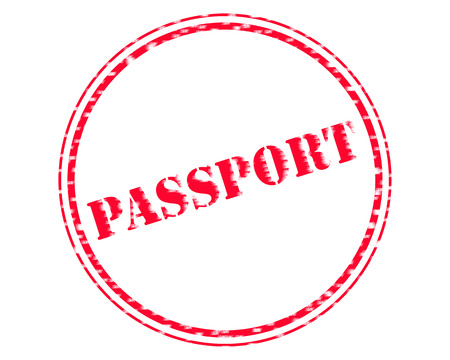 PASSPORT RED Stamp Text on Circle white background