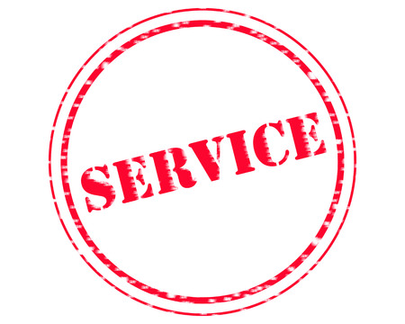 SERVICE RED Stamp Text on Circle white background