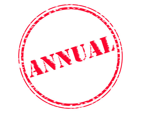 ANNUAL RED Stamp Text on Circle white background