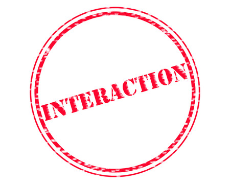 INTERACTION RED Stamp Text on Circle white background Reklamní fotografie