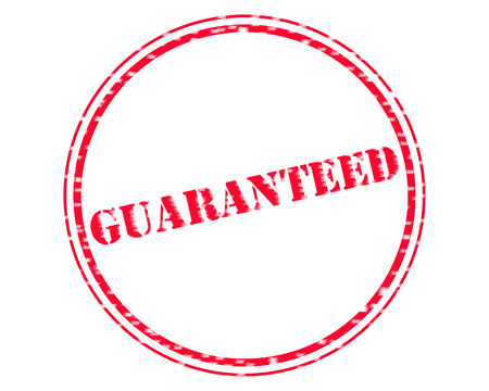 GUARANTEED RED Stamp Text on Circle white backgroud