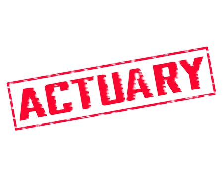 actuary: ACTUARY Red Stamp Text Scratching edge on white background