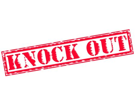 KNOCK OUT RED Stamp Text on white background