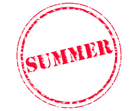 SUMMER RED Stamp Text on Circle white background