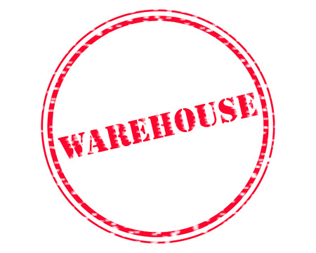 WAREHOUSE RED Stamp Text on Circle white backgroud Reklamní fotografie