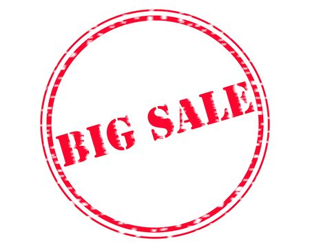 BIG SALE RED Stamp Text on Circle white background