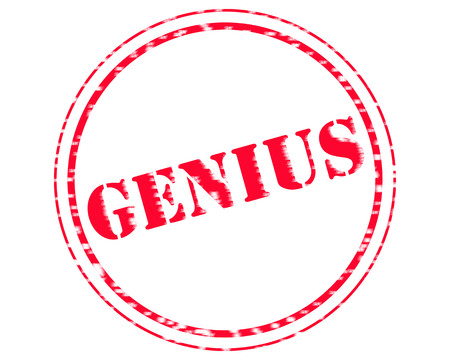 GENIUS RED Stamp Text on Circle white background