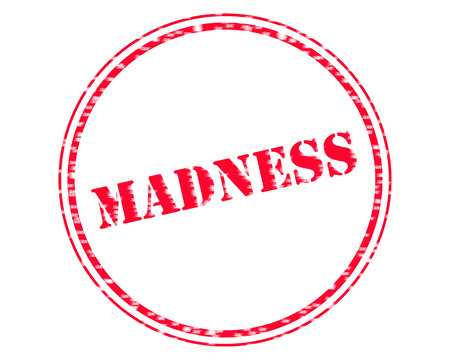 MADNESS RED Stamp Text on Circle white background