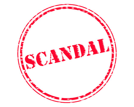 SCANDAL RED Stamp Text on Circle white background