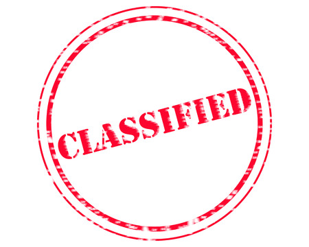 CLASSIFIED RED Stamp Text on Circle white background