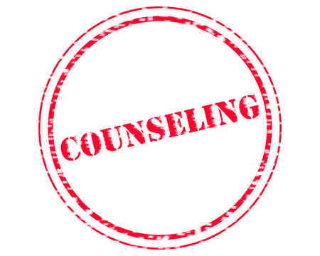 COUNSELING RED Stamp Text on Circle white background