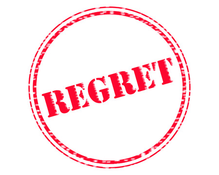 REGRET RED Stamp Text on Circle white background