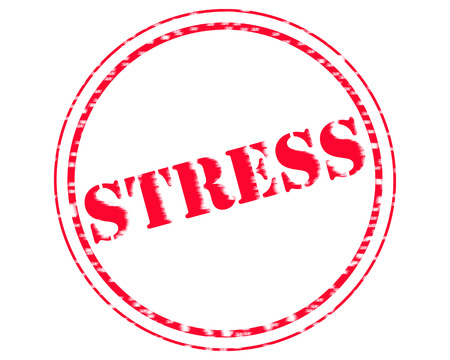 STRESS RED Stamp Text on Circle white background