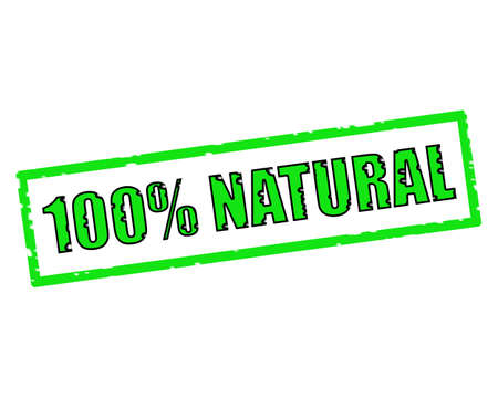 100% NATURAL GREEN-BLACK Stamp Text on white backgroud Stock Photo