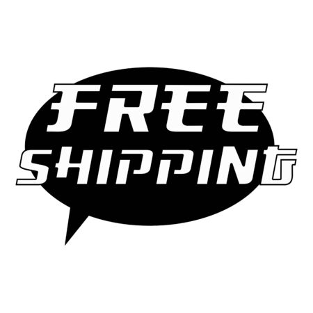 FREE SHIPPING White Wording on Speech Bubbles Background Black