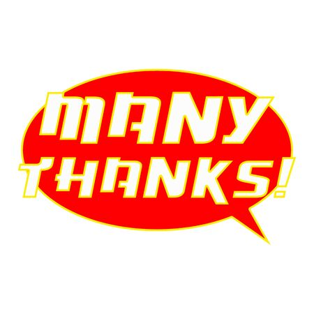 MANY THANKS! White Wording on Speech Bubbles Background Red