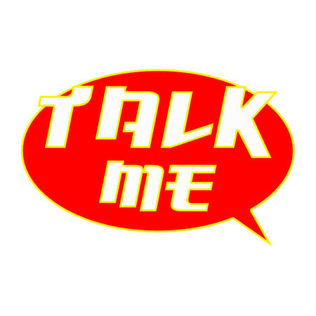 TALK ME White Wording on Speech Bubbles Background Red