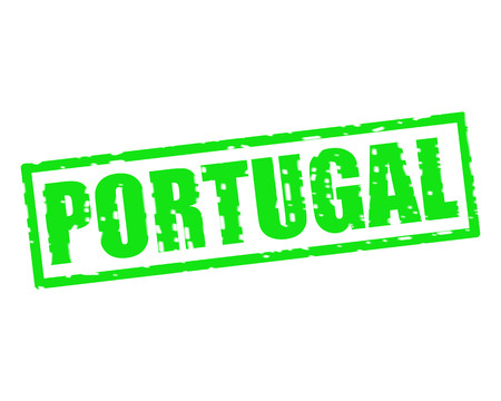 PORTUGAL GREEN Stamp Text on white backgroud