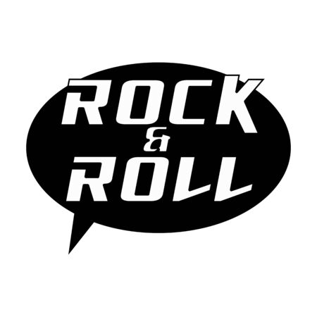 ROCK AND ROLL White Wording on Speech Bubbles Background Black Stock Photo
