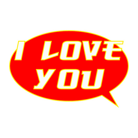 I LOVE YOU White Wording on Speech Bubbles Background Red Stock Photo