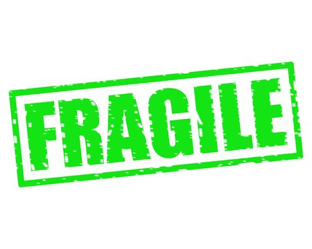 FRAGILE GREEN Stamp Text on white backgroud Stock Photo