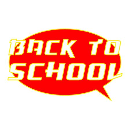 BACK TO SCHOOL White Wording on Speech Bubbles Background Red Stock Photo