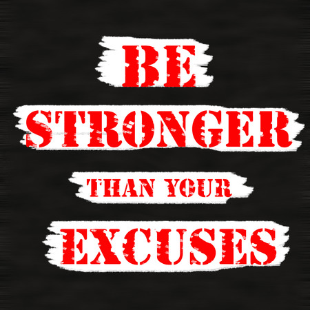 stronger: BE STRONGER THAN YOUR EXCUSES.Creative Inspiring Motivation Quote Concept Red Word On Black wood Background.  Stock Photo