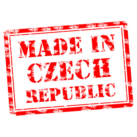 Made in Czech Republic Red words scratchs on rectangular frame Stock fotó