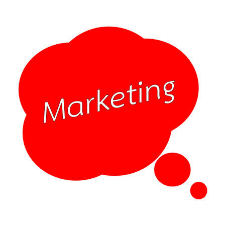 MARKETING TEXT White Wording on Speech Bubbles Red Background