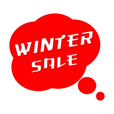 winter SALE TEXT White Wording on Speech Bubbles Red Background