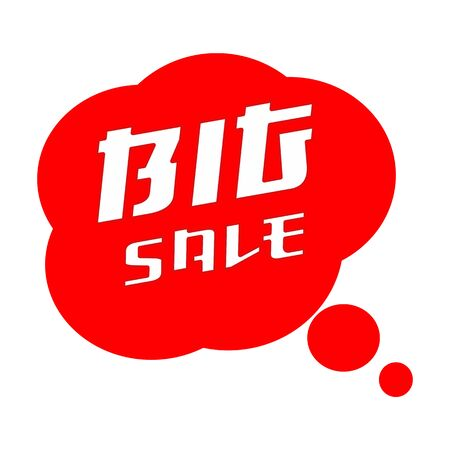 Big SALE TEXT White Wording on Speech Bubbles Red Background Stock Photo